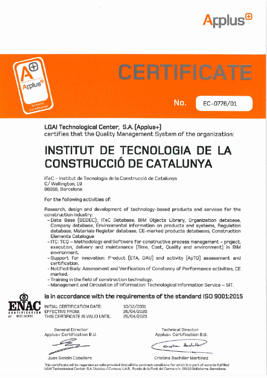 ITeC is certified by ISO 9001:2015